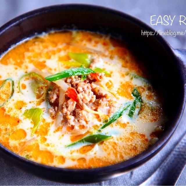 ♡豆乳deコクうま♡ひき肉もやしの担々スープ♡【#簡単#節約#おかずスープ】