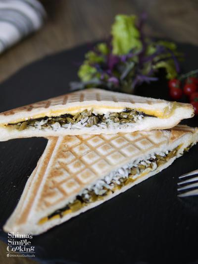 時短5分|朝ご飯|お昼ごはん|休日ごはん|お弁当|ホットサンド|【シラス高菜のりチーズの和風ホットサンド】