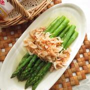 5分以内☆グリーンアスパラガスと桜えびのサッと煮☆ヤマキ割烹白だし使用
