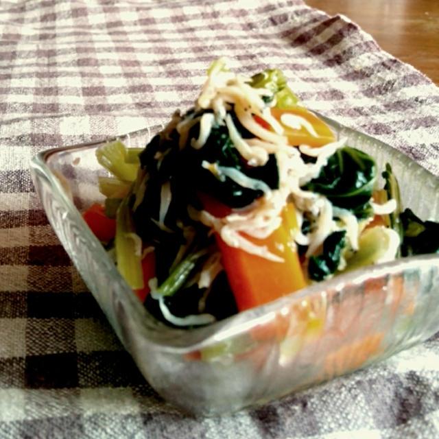 【10分でできる*レンジで簡単おかず】小松菜と人参のしらす和え*と