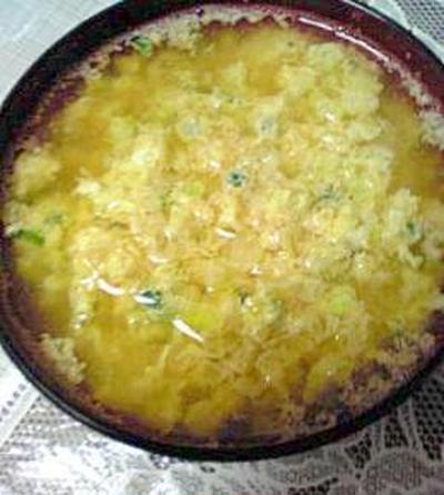カット野菜とたまごでふわふわ味噌汁
