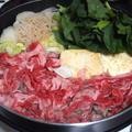 「自家製の焼き豆腐」とすき焼き