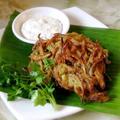 インドのかき揚げ、玉葱とコリアンダーのバージ。