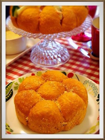 HBでお家パン♡カマンベールを包んだふわふわバジルトマトパン♡