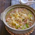 にんにくと生姜の効いた豚こまキャベツの豚汁風鍋【疲労や体力の回復に、風邪予防、便秘に】