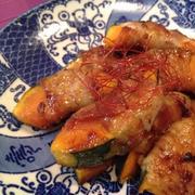 柚子胡椒の甘辛たれでかぼちゃの豚肉巻き