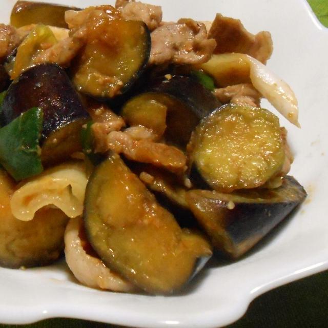 収穫したピーマンとナスを使って 「豚肉とナスとピーマンの甘辛味噌炒め」