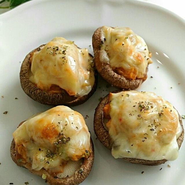 トースターで簡単おつまみ☆椎茸のキムチーズ焼き