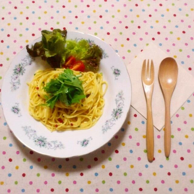 ■塩うにクリームソースのスパゲティの朝ごはん