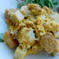 スパイシー厚揚げ炒めの煎り卵