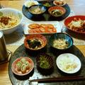 なんちゃって台湾混ぜ麺とするめいかの南蛮漬、冷やしトマトに小鉢が5品で晩酌。