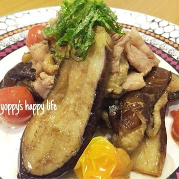 簡単♡トロトロ茄子と豚バラの生姜ポン酢炒め