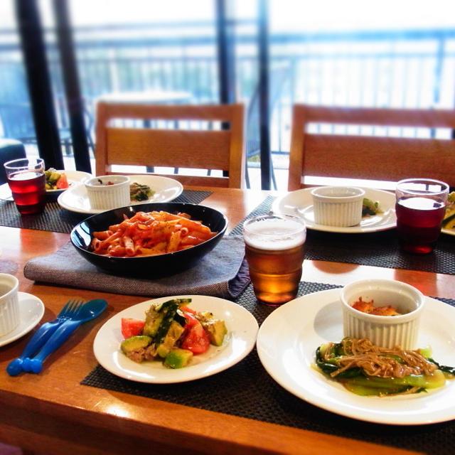 アボカドとツナとトマトのナムル☆青梗菜とえのきのオイスターソース煮
