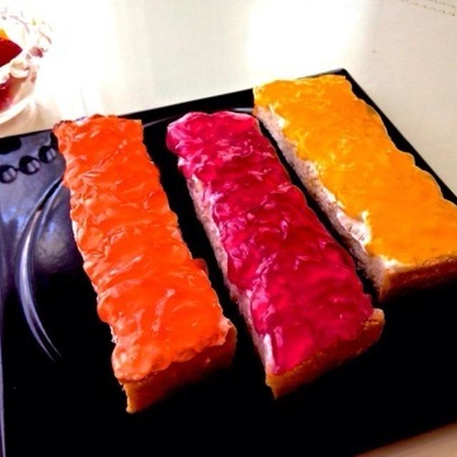 キラキラお洒落で☆超簡単♪爽やかなフルーツの香り♡『フルーツゼリーのスティックオープンサンド』