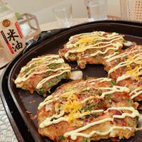 米油で♬︎♡外側カリっと定番お好み焼き⸜☺︎⸝豚玉&イカ×にら