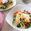 (主食レシピ)岐阜県産ほうれん草とスモークサーモンのガーリックバタースパゲッティー