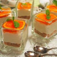 簡単!オレンジのグラスレアチーズケーキ ゼラチン不使用  アーラクリームチーズで♪