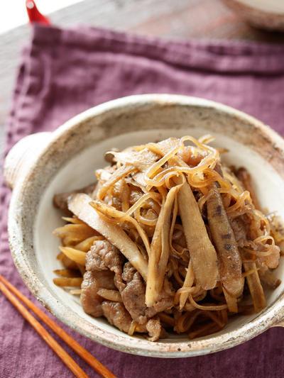 牛ごぼうとしらたきのしぐれ煮【#作り置き #お弁当 #食物繊維 #献立 #主菜】