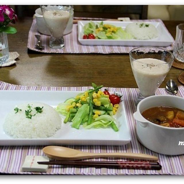 チキンカレー&桃のスープ