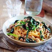 ♡ひき肉とほうれん草の和風パスタ♡【#簡単レシピ#スパゲティ#時短#節約#麺】