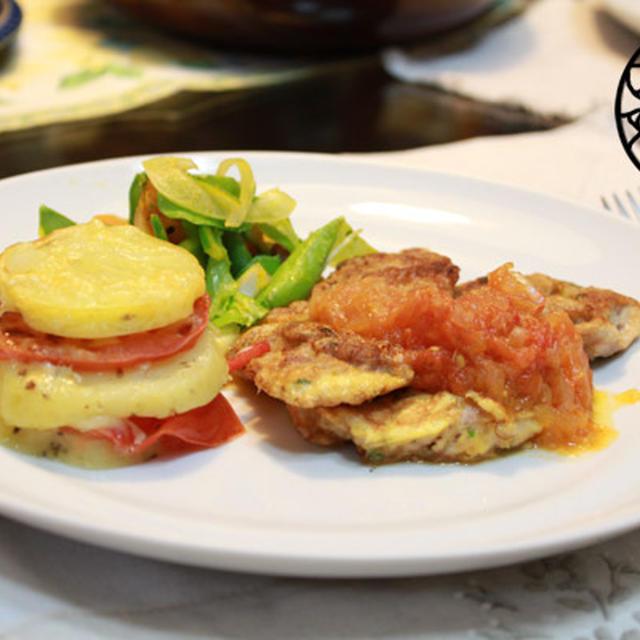生トマトソースと豚肉のピカタ