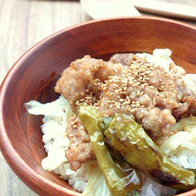 <ほっこりカフェご飯風 ぶた南蛮丼(豚肉の唐揚げの甘酢だれ漬け丼)>
