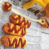 チーズハットグ(韓国ホットドッグ)ホットケーキミックス
