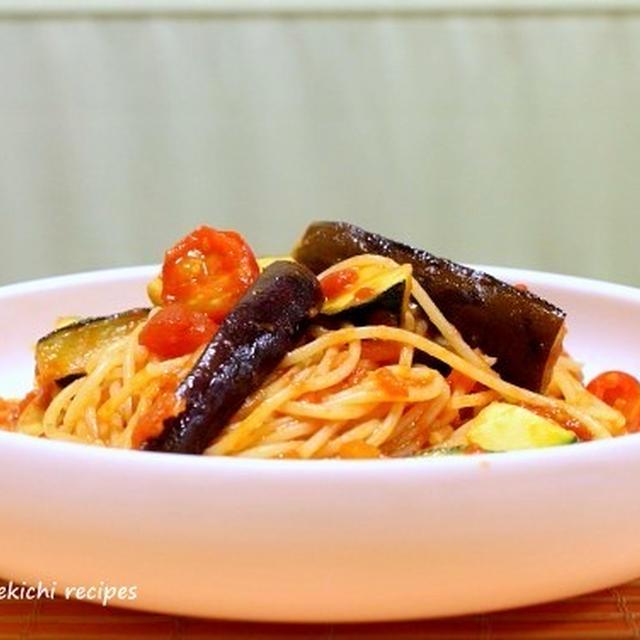 定番「茄子とズッキーニのトマトソースパスタ」&ルクエで「あさりのロゼ蒸し」