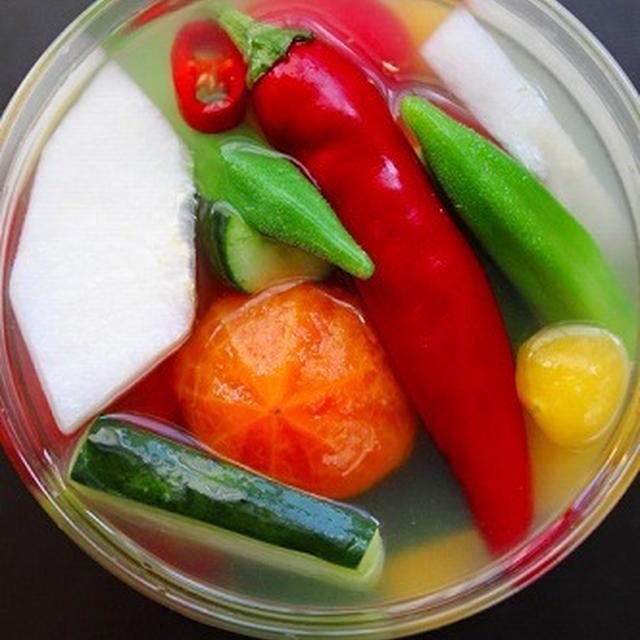 梨と野菜の水キムチ♪自家製韓国唐辛子