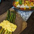 おもてなし料理 - 焼きアスパラ、豆腐サラダ、手羽先から揚げ、エビトマトクリームパスタ