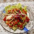 <タコとトマトの冷製パスタ>と、新潟県胎内市「とんかつ志加豪 (トンカツシカゴ)」