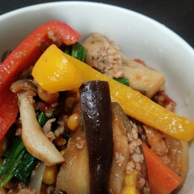挽き肉とにぎやか野菜のトマト煮