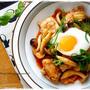 簡単♪調味料でしっかり味♪白いご飯が止まらない・・♪鶏キムチと、夫弁当。
