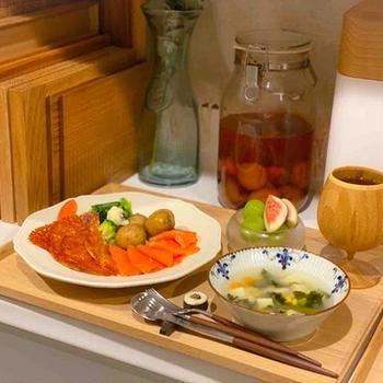 【献立】スモークサーモンと長芋チーズ焼きでおつまみごはん
