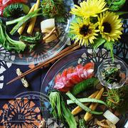 ガラスのワンプレートで夏野菜を楽しむ。