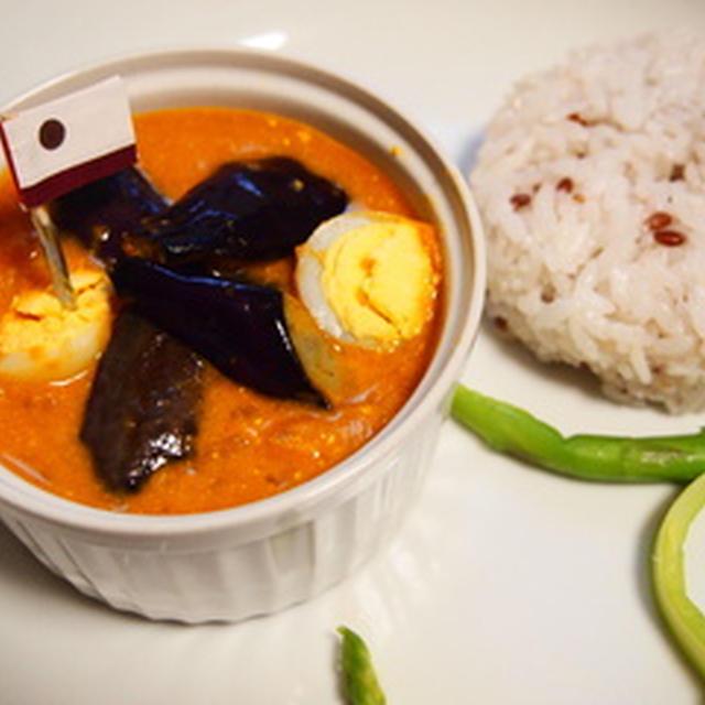 GOROGORO×たまごとナスのトマト古代米カレー--shama_plate